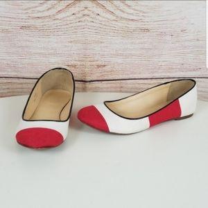 J Crew Nora Red Stripe Canvas Ballet Flat SZ 6